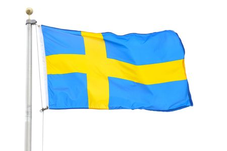 The Flag of Sweden Isolated on a White Background
