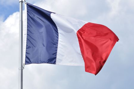 The Flag of France Waving in the Breeze