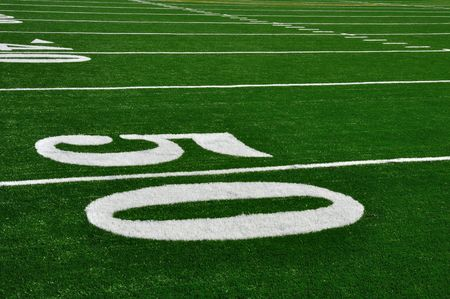green lines: 50 Yard Line on American Football Field