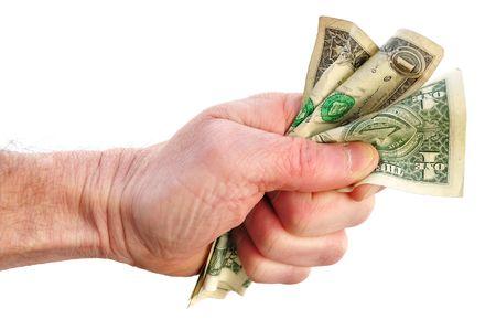 Fist Holding Three Dollar Bills Isolated on White photo