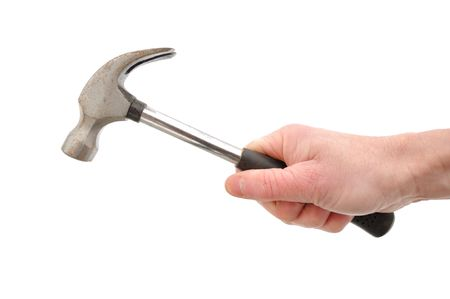 hammering: Hammering with a Hammer Isolated on White
