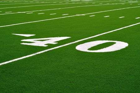 yardline: 40 Yard Line on American Football Field  Stock Photo