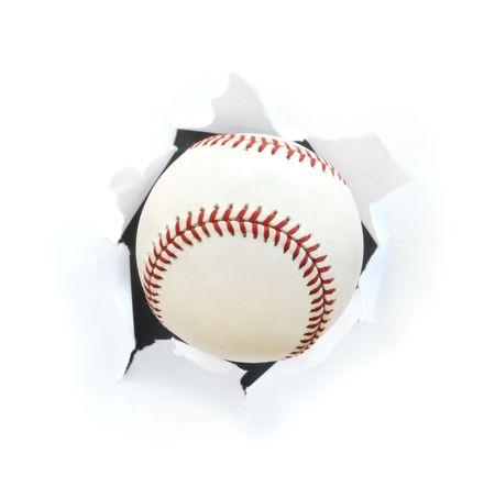Baseball Bursting Though a Hole Isolated on White photo