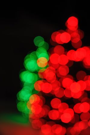 Red and Green Defocused Christmas Tree Lights photo