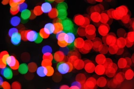 xmas background: Colorful Defocused Christmas Tree Lights