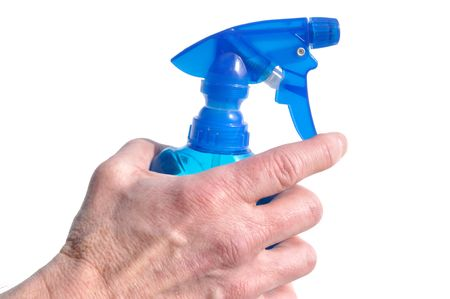 grasp: Hand Holding Blue Spray Bottle Isolated on a White Background Stock Photo