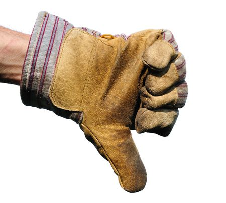 disapprove: Worker Wearing Leather Work Glove Giving the Thumbs Down Sign on White Stock Photo
