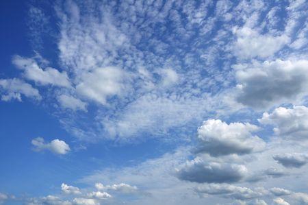 altocumulus: Cumulus and Altocumulus Clouds Against a Blue Sky