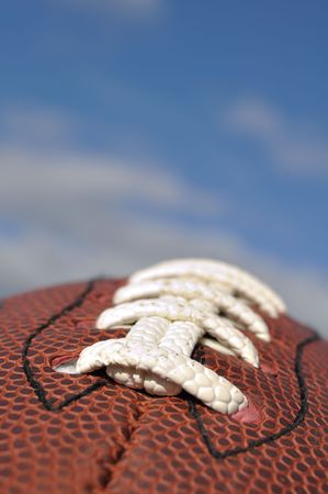 Close-up of American Football Texture and Laces with Selective Focus 写真素材