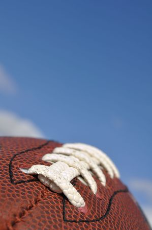 Close-up of American Football Texture and Laces with Selective Focus Archivio Fotografico