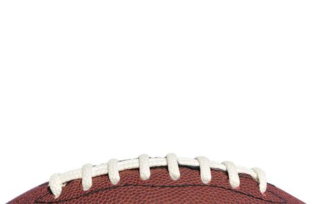 Close-up of American Football Laces Isolated on a White Background