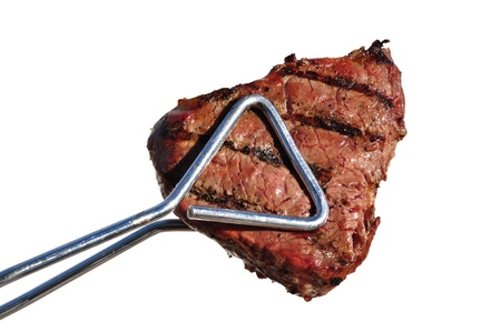 Tongs Holding Grilled Beef Loin Top Sirloin Steak Isolated on White Standard-Bild