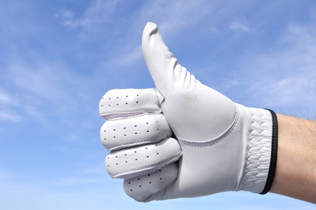 Golfer Wearing Golf Glove Giving Thumbs Up Sign Stock Photo - 9135763