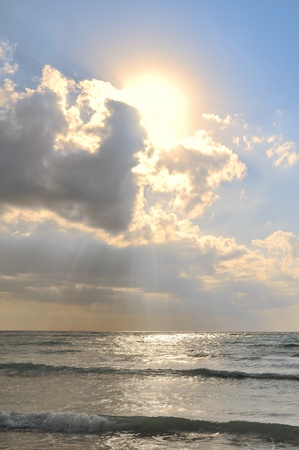 crepuscular: Crepuscular Rays Trough the Clouds Above the Caribbean Sea