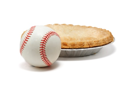 Baseball and Apple Pie Isolated on White, Americana Stock Photo - 9177300