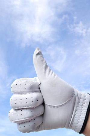 Golfer Wearing Golf Glove Giving Thumbs Up Sign Stock Photo - 9177306
