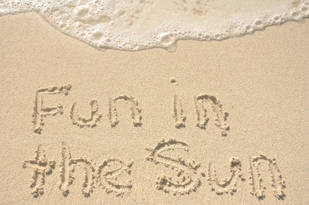 The Words Fun in the Sun Written in the Sand on a Beach Banco de Imagens
