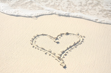 Heart Drawn in the Sand on a Beach photo