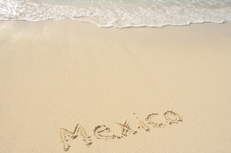 The Word Mexico Written in the Sand on a Beach photo