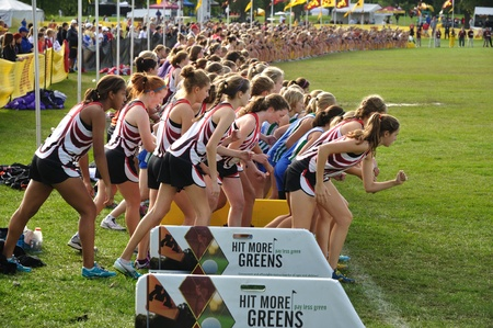 ST. PAUL, MN - SEPTEMBER 25 : The start of the Roy Griak Invitational Cross Country Meet with teams from numerous Minnesota high schools participating on September 25, 2010 in St. Paul, MN 報道画像