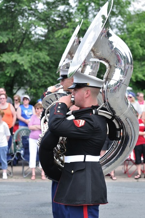 OSSEO, MN - JUNE 26 : The USMC Marine Forces Reserve Band Performing in the Osseo Marching Band Festival on June 26, 2010 in Osseo, MN