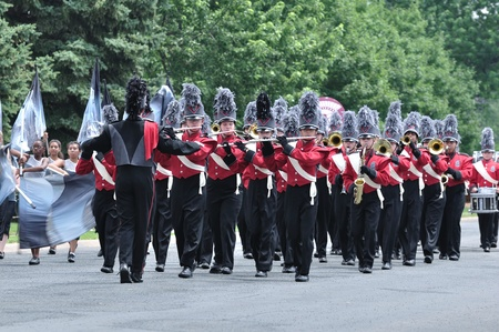 march band: OSSEO, MN - JUNE 26 : Richfield High School Marching Band Performing in the Osseo Marching Band Festival on June 26, 2010 in Osseo, MN Editorial