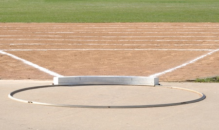 put: Shot Put Ring and Field with Chalk Lines