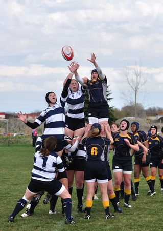 collegiate: BLAINE, MN - APRIL 30: A lineout in a womens collegiate rugby match between Navy and the Brigham Young University (BYU) Cougars in the NCAA Division I College Championship quarterfinals on April 30, 2011 in Blaine, MN