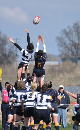 BLAINE, MN - APRIL 30: A lineout in a womens collegiate rugby match between Navy and the Brigham Young University (BYU) Cougars in the NCAA Division I College Championship quarterfinals on April 30, 2011 in Blaine, MN