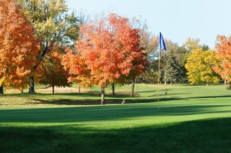 Golf Green and Flagstick with Colorful Fall Leaves of Maple Trees