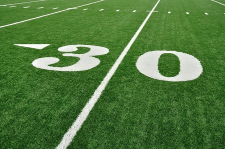 30 Yard Line on American Football Field with Hash Marks photo