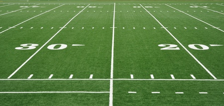 20 and 30 Yard Line on American Football Field Stock Photo - 9985392