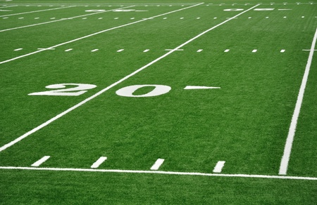 Twenty Yard Line on American Football Field with Hash Marks