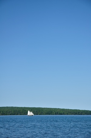 schooner: Schooner Sailboat Sailing on a Beautiful Summer Day