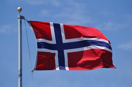 The Flag of Norway Waving in the Breeze