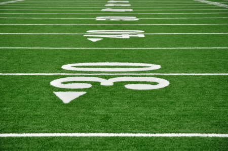 30, 40, en 50 Yard Line op American Football Field