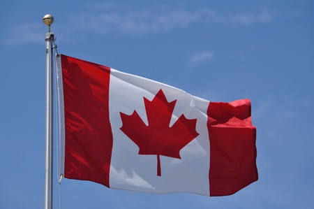 The Flag of Canada Waving in the Breeze