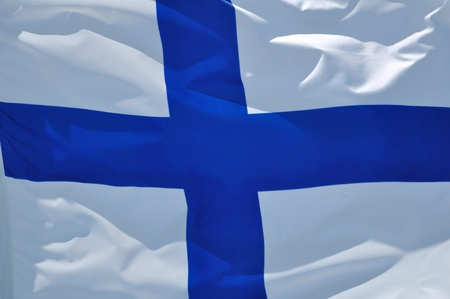Close Up of the Flag of Finland Waving in the Breeze Banco de Imagens