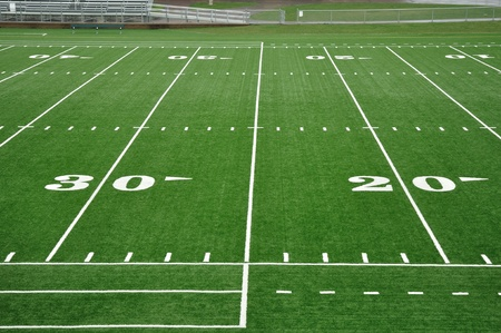 sideline: 20 and 30 Yard Line on American Football Field