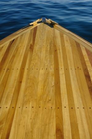 poplar: Wood Strip Bow Deck of Wooden Boat Using Poplar and Mahogany Stock Photo