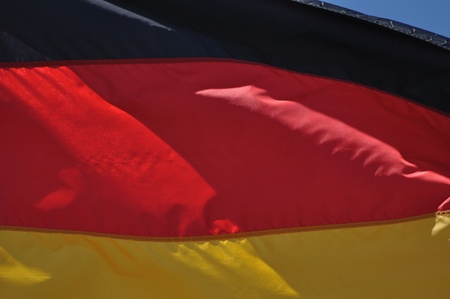 Close Up of the Flag of Germany Waving in the Breeze