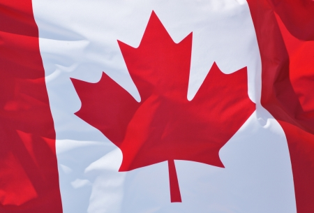 Close-up of the Flag of Canada Waving in the Breeze