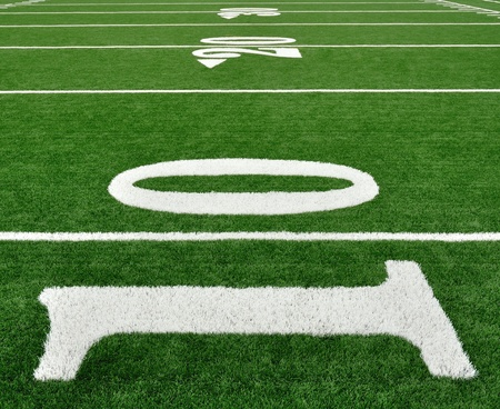 10, 20, & 30 Yard Line on American Football Field  photo