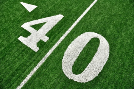 yardline: View From Above of 40 Yard Line on American Football Field With Artificial Turf