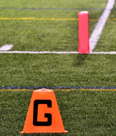 Goal Line on American Football Field with Pylon