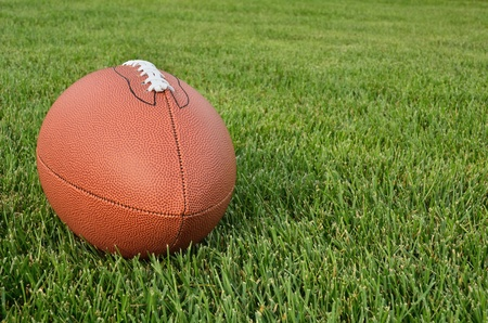 American Football on Real Grass Turf of a Football Field photo