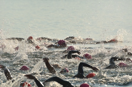 BAYFIELD, WI - August 6: Women Competing in Open Water Swim Race on Lake Superior on August 6, 2011 near Bayfield, Wisconsin