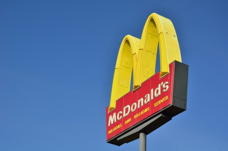 DE FOREST, WI - OCTOBER 8: McDonald's Restaurant Sign Against a Clear Blue Sky on Otcober 8, 2011 in De Forest, WI