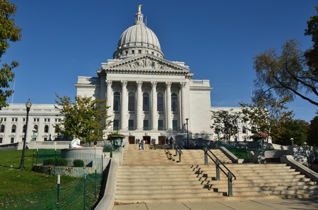 MADISON, WI - OCTOBER 8: Wisconsin Capitol Building on a Sunny Fall Day on October 8, 2011 in Madison, Wisconsin
