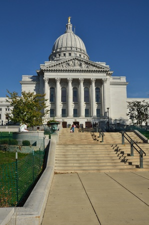 madison: MADISON, WI - OCTOBER 8: Wisconsin Capitol Building on a Sunny Fall Day on October 8, 2011 in Madison, Wisconsin